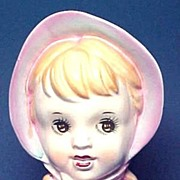 Sweet Little Girl Head Vase Signed Norleans
