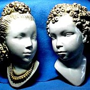Vintage Pair of Exquisite, Classic Chalk Ware Heads