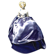 Vintage German Porcelain Half Doll, Pincushion Doll with Arms Away Gorgeous Gown