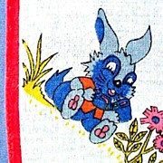 Vintage Child's Printed Hankie,Hanky,Hankerchief,with Cute Rabbits