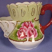 Antique Porcelain, Victorian  Scuttle Style Shaving Mug, Hand Painted Roses