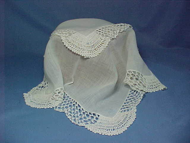 Vintage Wedding Handkerchief, Bride's Hanky with Hand Made Lace