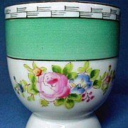 SALE Vintage Noritake China Double Egg Cup with Hand Painted Roses