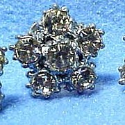 Vintage Set Of 3 Prong Set Rhinestone Studs or Buttons, Ballou