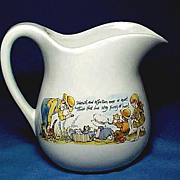 Large Stoneware Pitcher with Sweet Children and Cats for Lemonade or Milk