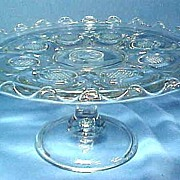 EAPG Cake Pedestal Diamond Point Disks C1905, Higbee Glass