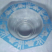 SALE Art Deco Glass Console Bowl with Wheel Cut Design