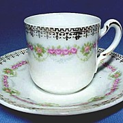 German Porcelain Mini Cup & Saucer with Swags of Roses