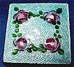 Pill Box with Blue Guilloche Enamel and Hand Painted Roses