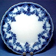 Vintage Staffordshire Flow Blue Plate with Swags of Roses