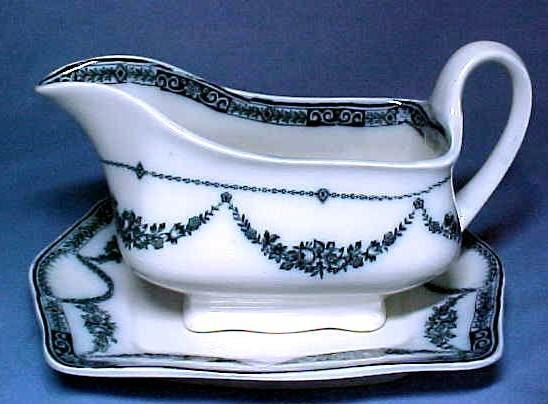 Vintage Staffordshire Flow Blue China Gravy Boat and Tray
