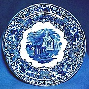 George Jones Flow Blue Abbey Plate