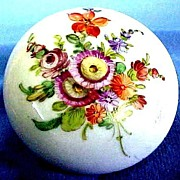 Victorian Dresden Porcelain Dresser Jar or Ring Box  Hand Painted