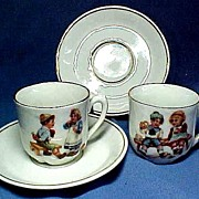 Pair Victorian Children's Porcelain Cups and Saucers