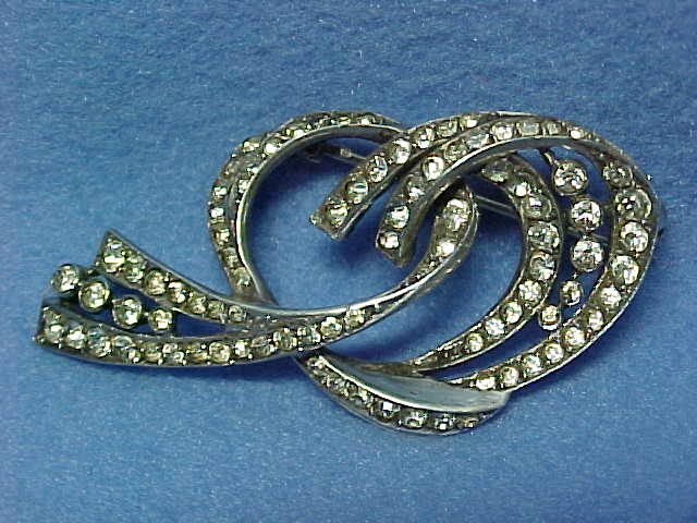 Sterling and Hand Set Paste Stone Scrolled Brooch or Pin