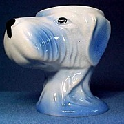 Figural Egg Cup Blue Dog Head