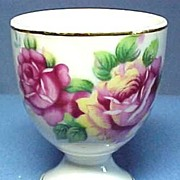 Pretty China Egg Cup with Roses Old Japan