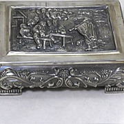 SALE Vintage Primans Silverplated Repousse Box-Peasant Scene  Very heavy