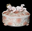 Fine Old Porcelain Box with Cherub Figural Finial Footed Lion Paws