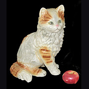 SOLD Vintage Keramos Siberian Cat Figurine Vienna Austria Huge  12 