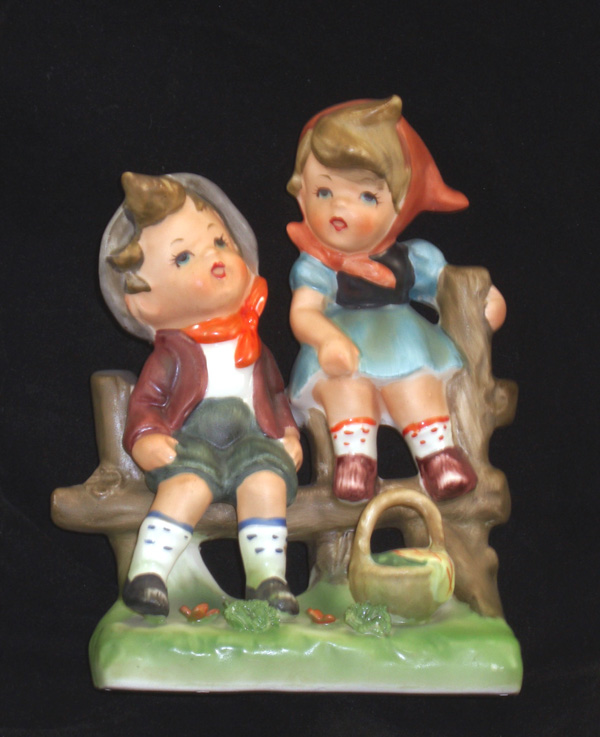 Vintage Lipper and Mann Boy and Girl on Fence Figurine