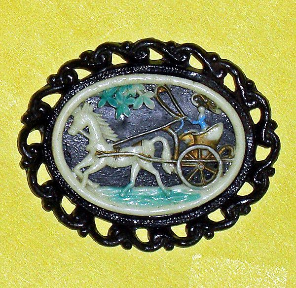 Art Deco Celluloid Horse Buggy Brooch  C 1920's