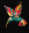 Guilloche Enamel Hummingbird Brooch Gold Tone  3D