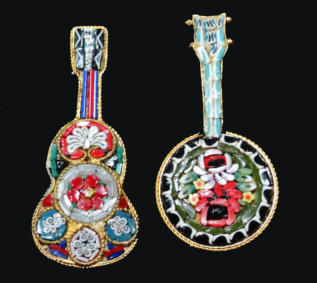 Micro Mosaic Guitar and Banjo Brooches Italy