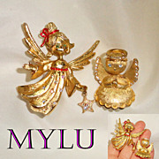 MYLU and Ultracraft Gold Tone Rhinestone Angel Brooches -