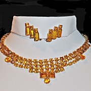 Honey Amber Rhinestone Bib Necklace Earrings Demi Parure