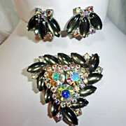 Weiss Smoke Green Grey Navette Aurora Borealis Rhinestone Brooch Earrings Demi