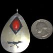 Vintage Native American Hopi Roadrunner Sterling Silver Red Coral Pendant