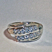 Aquamarine Sterling Silver Fashion Ring  size 7