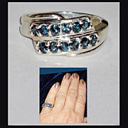 Blue Diamond Sterling Silver Fashion Ring  size 7