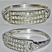 Art Deco Pave Diamond Platinum Ring Size 6-1/2
