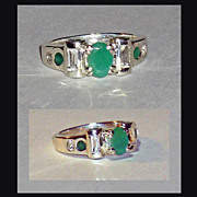 SALE Sterling Silver Emerald White Topaz  Ring  Size 6-1/2