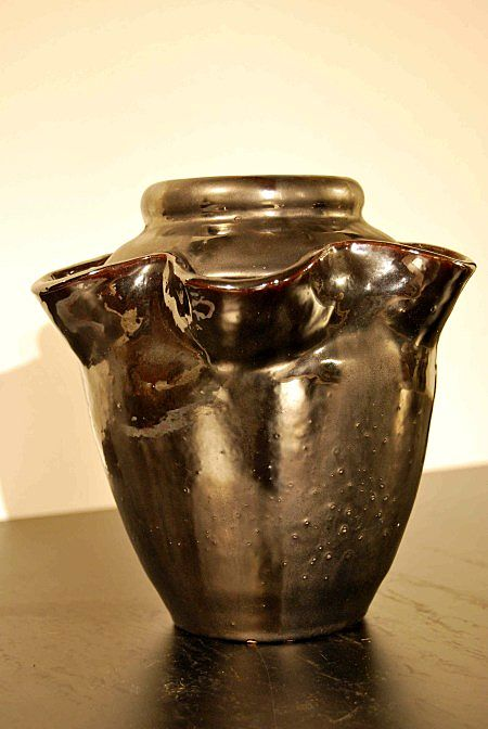 Rare black Vallauris ceramic vase by Giraud; Art Deco period