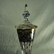 DECKELPOKAL crystal cut enameled Bohemian Haida crystal of 1920