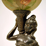 REDUCED Cl�o young woman art nouveau oriental french oil lamp & enamelled acid glass