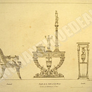 SALE Original etching from 1811; Dressing table sideways, Empress armchair and washbasin of th