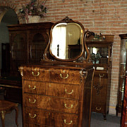 SALE French Walnut 6 Drawer Chest w. Wishbone Mirror