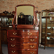 SALE Mahogany Claw Foot Chest of Drawers w. Wishbone Mirror