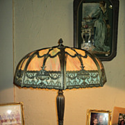 SALE Large Slag Glass Lamp, Silver & Black Patina