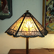 Slag/Art Glass  Table Lamp, Signed Bradley & Hubbard