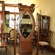 SALE Antique Oak Hall Tree w. Beveled Mirror, circa 1900