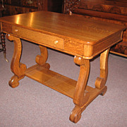 Empire Style Oak Library Table