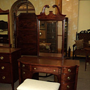 Mahogany Vanity w. Inlaid Designs, (matching Dresser & Chest available)