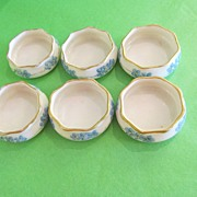 SOLD Set of 6 American Belleek Ceramic Hand Painted Salts-Artist Signed--ON SALE NOW!! - Red T