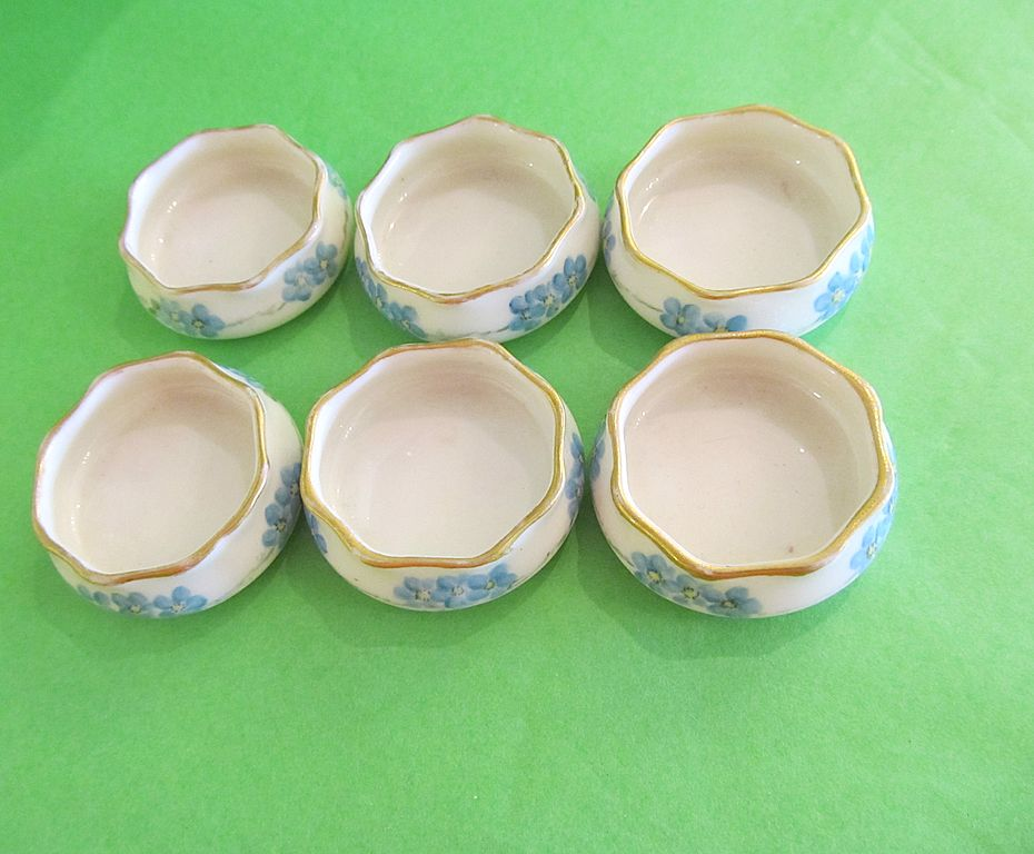 Set of 6 American Belleek Ceramic Hand Painted Salts-Artist Signed--ON SALE NOW!!