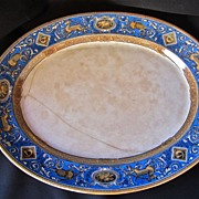 SALE Rare 19th-Century French Faience Lusterware Hunt Platter, Terre de Fer